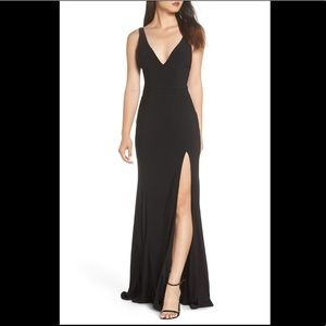 Mac Duggal Plunge Neck Slit Jersey Gown